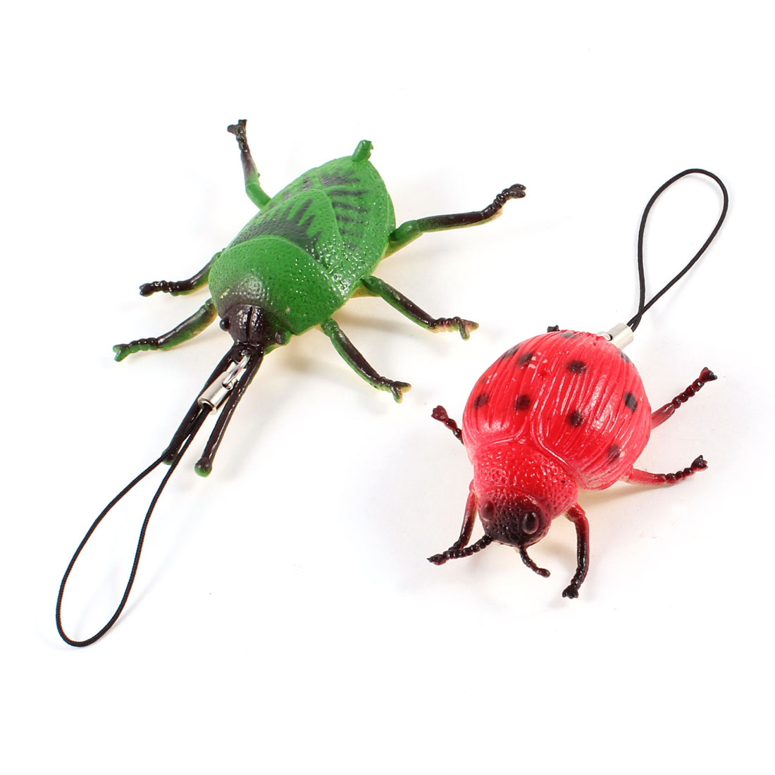 2 Pcs Red Green Plastic Insect Pendant Strap String Toy Gift for MP4 Cell Phone