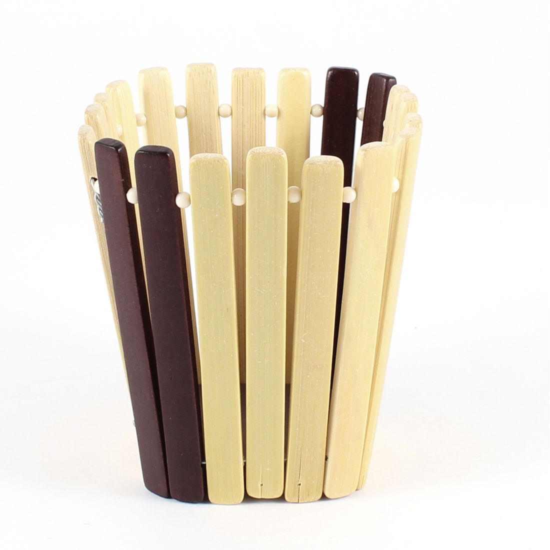 Home Plastic Beads Decor Stationery Organizer Bamboo Pen Holder Brown Beige