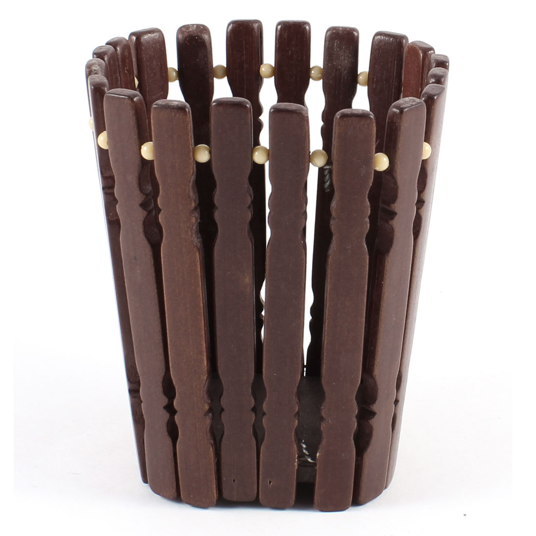 Household Beige Plastic Beads Accent Bamboo Pen Holder Organizer Brown