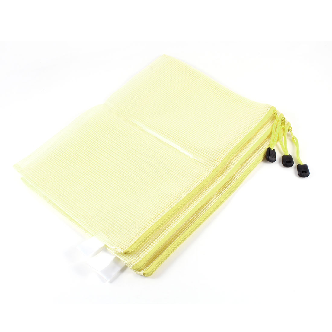 3 Pcs Zippered Soft Plastic 29.5 x 21.4cm Clear Yellow File Bag for B5 Paper