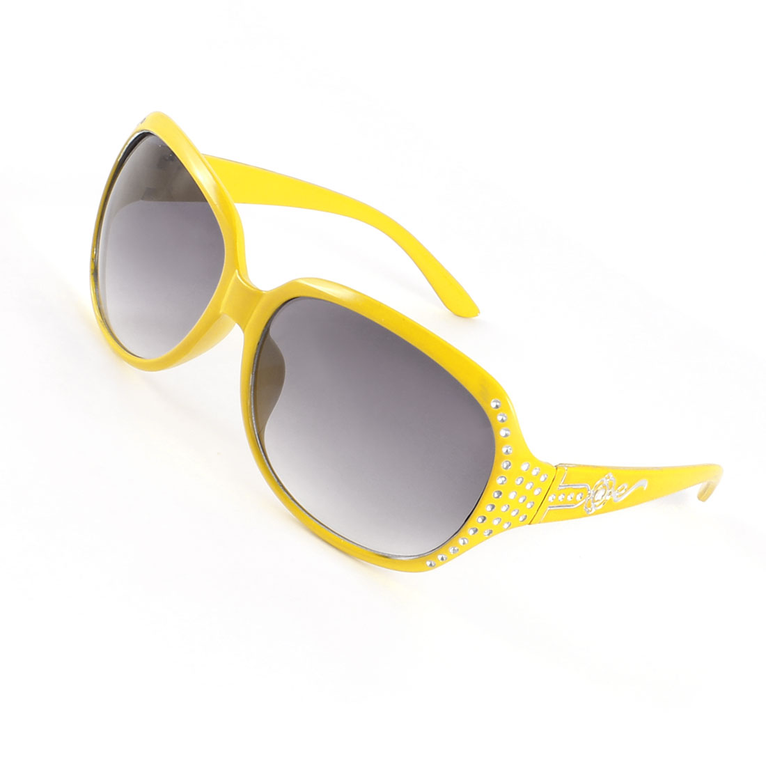 Tinted Lens Digital Decor Sunglasses Yellow for Women Lady