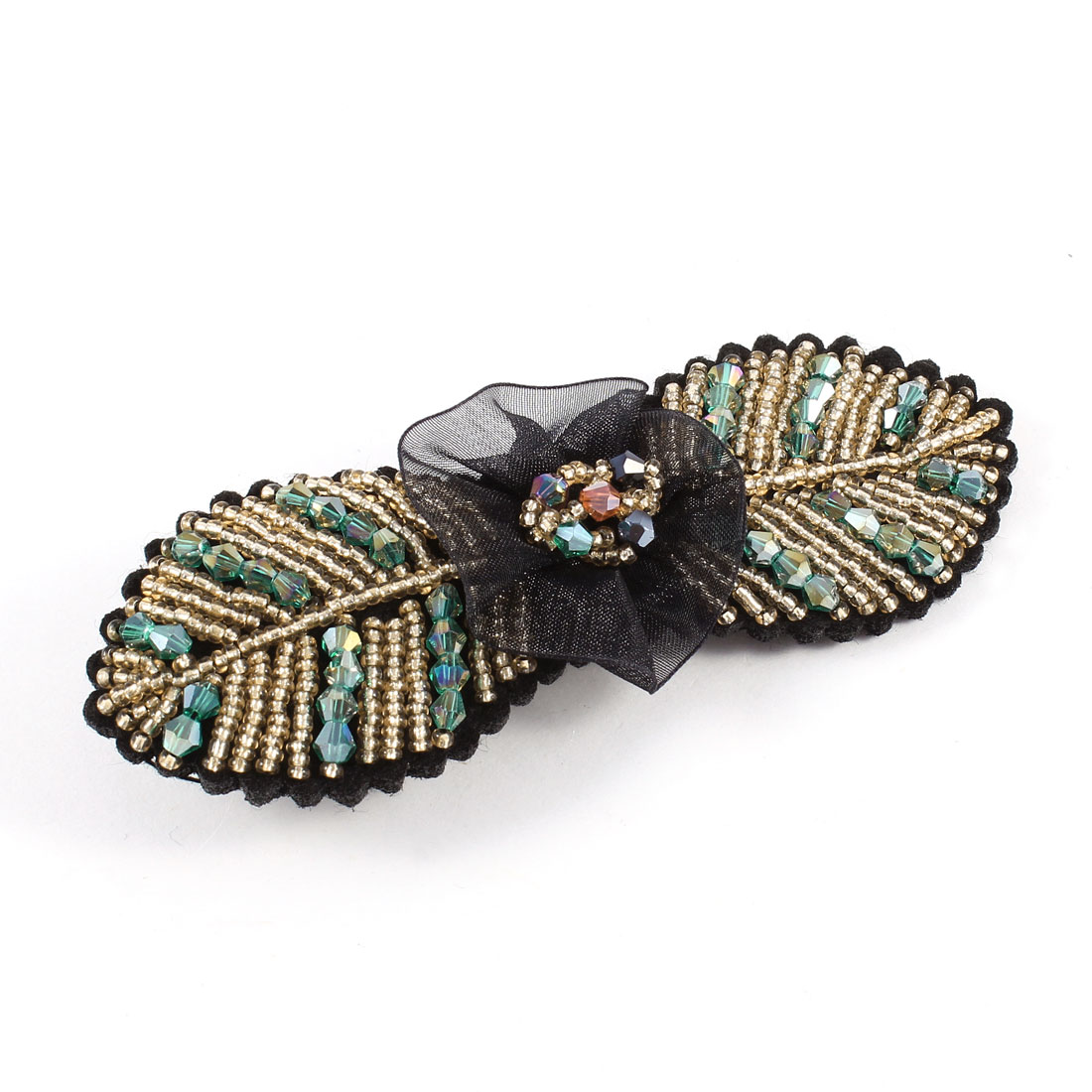 Headwear Leaf Shape Metal Alligator Hair Clip Hairclip Black Teal Blue for Lady