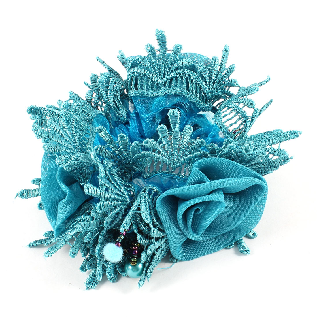Ladies Hollow Out Style Beaded Elastic Hair Tie Ponytail Hairband Teal Blue