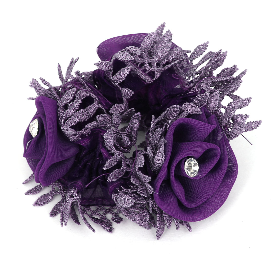 Ruffle Floral Stretchy Ponytail Holder Hairband Hair Tie Purple for Lady