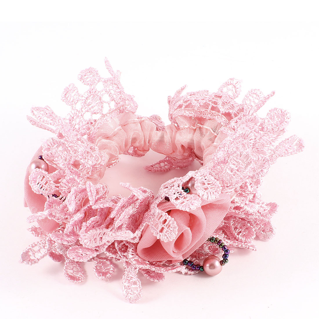 Dark Pink Ruffles Flower Decor Elastic Hairband Hair Tie for Lady