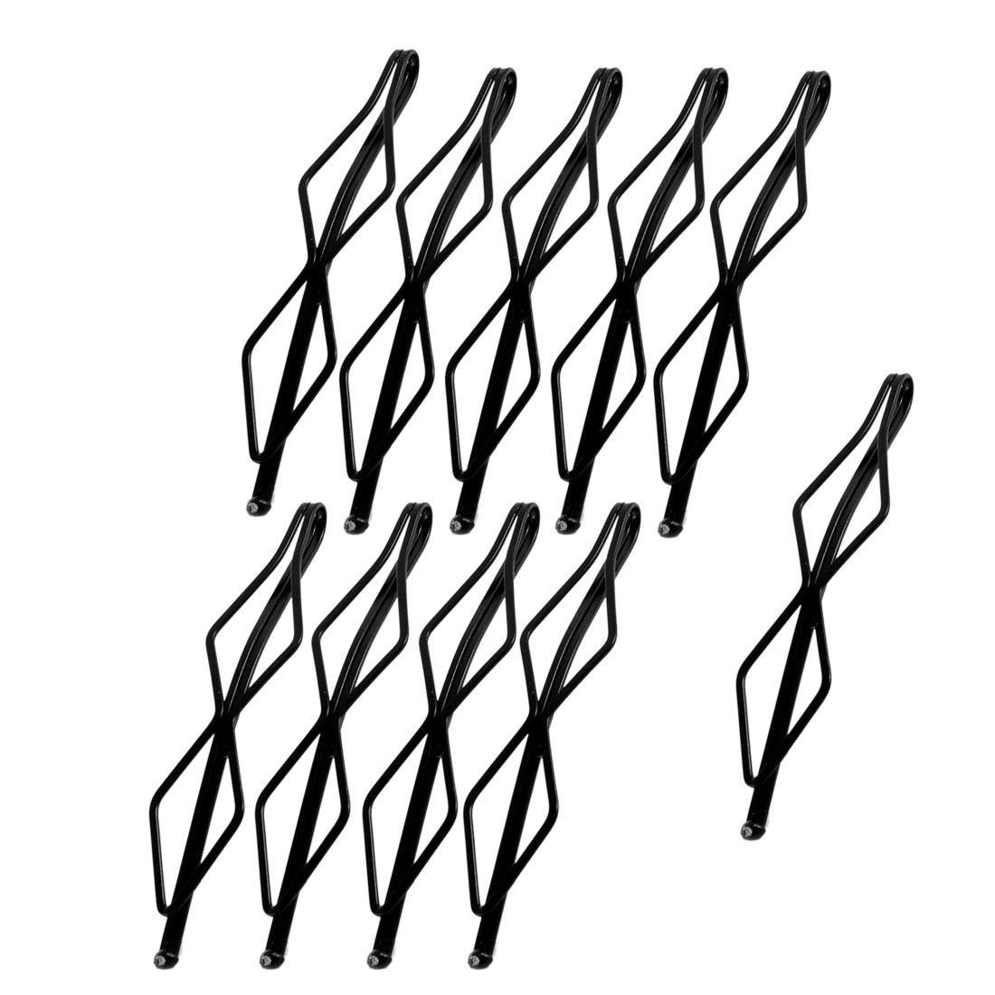 10 Pcs Hairdressing Wave Style Double Prong Hair Clip Bob Pin Black for Lady