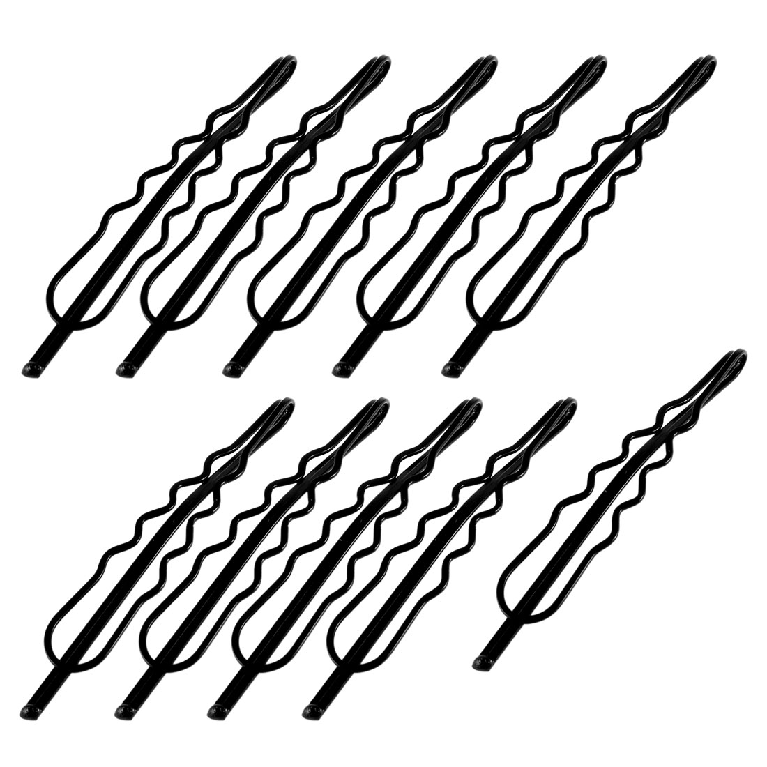 10 Pcs Black Hairdressing Hairclips Clips Double Prong Bob Pin for Ladies