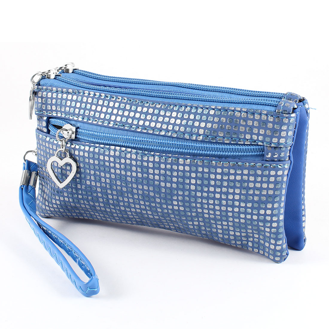 Grid Printed 3 Layers Zip up Faux Leather Wrist Bag Purse Blue for Ladies
