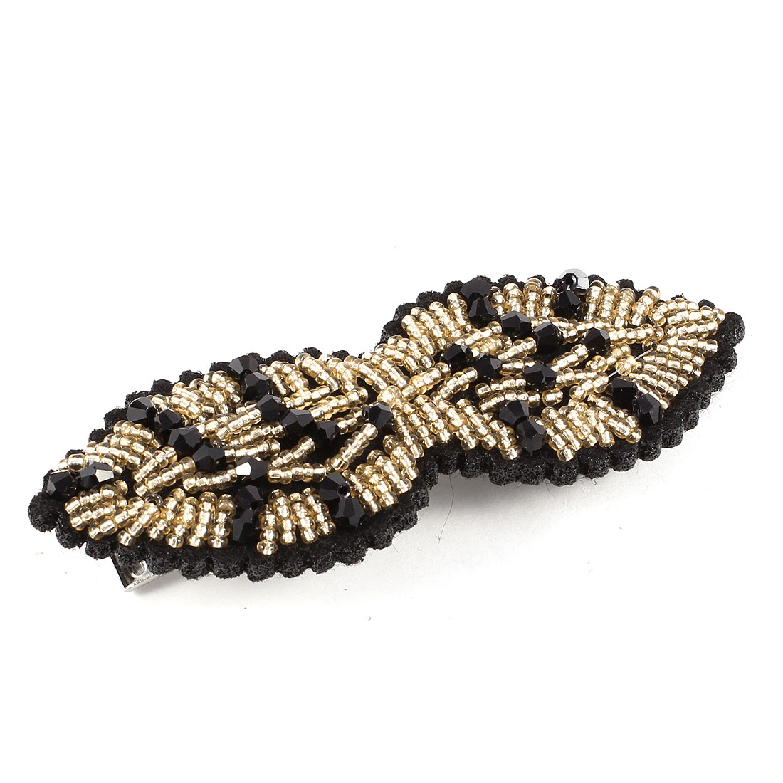 Handicraft Plastic Beads Decor Alligator Hair Clip Black Silver Tone for Lady
