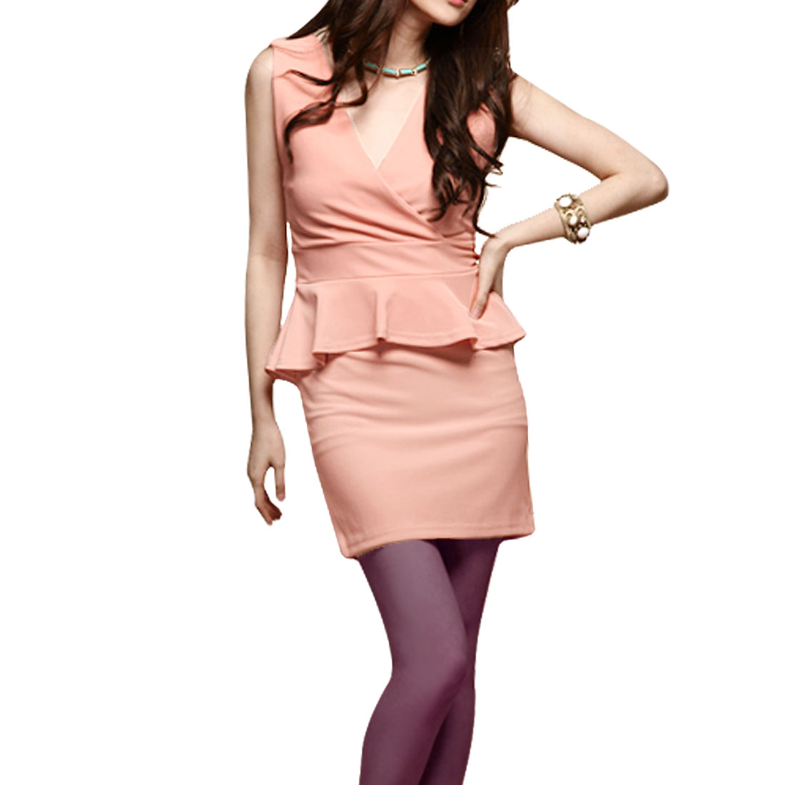 Pullover Sleeveless Solid Pink Charming Mini Peplum Dress XS for Ladies