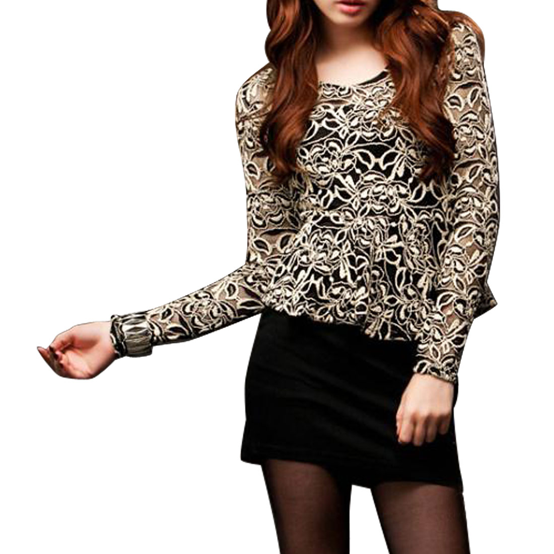 XS Woman White Black U Neck Long Sleeve Flower Lace Split Mini Dress