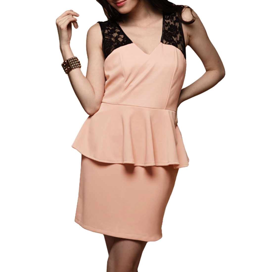 XS Woman Pink V Neck Sleeveless Lace Split Mini Dress