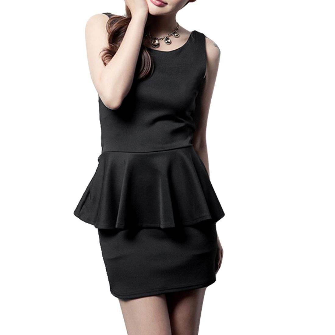 Sleeveless Round Neck Backless Mini Peplum Dress Black XS for Ladies