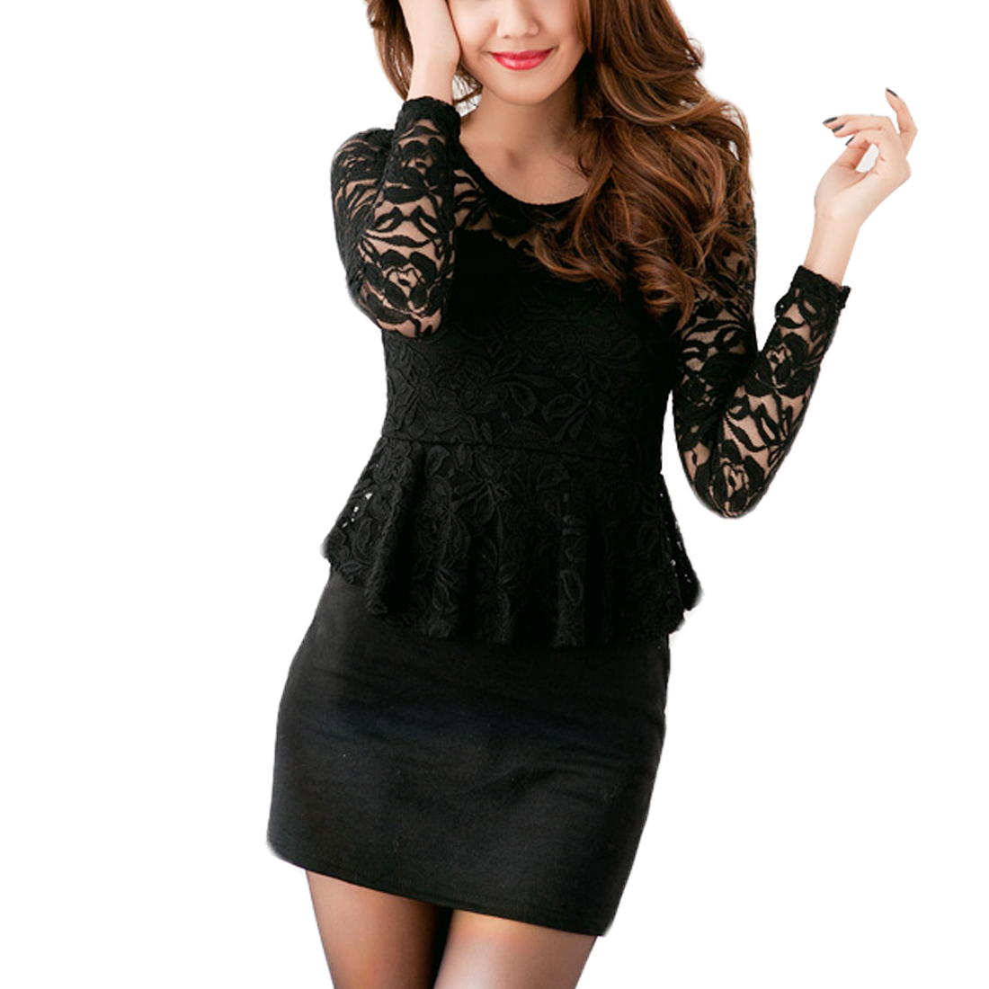 Round Neck Solid Black Closefitting Mini Dress XS for Women