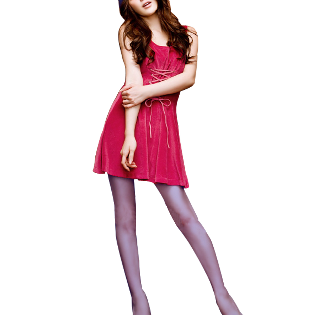 Fashional Women Back Lace Up Sweet Style Mini A Line Dress Hot Pink XS