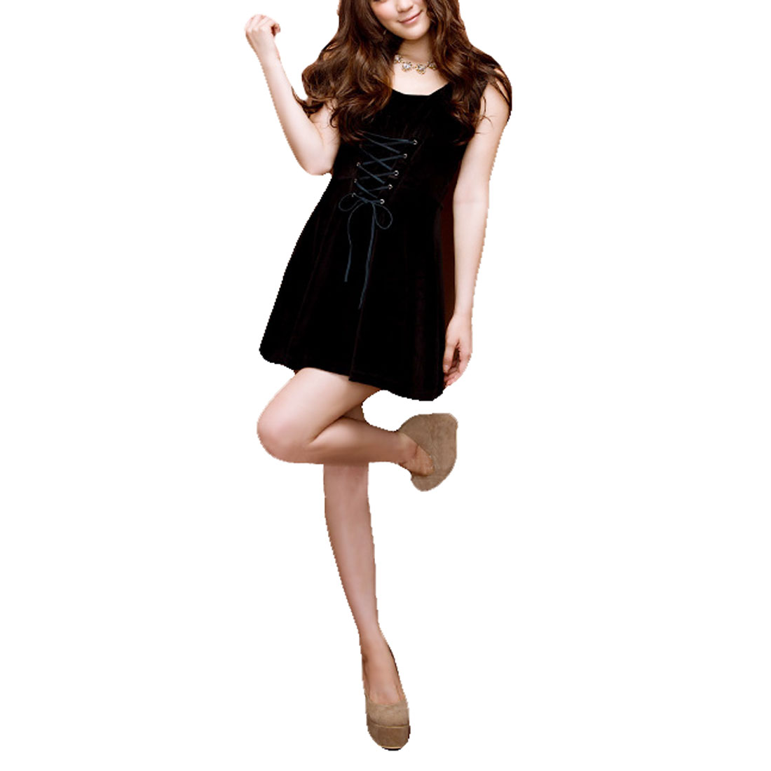 Sleeveless Pullover Solid Black Elegant Mini A Line Dress XS for Woman