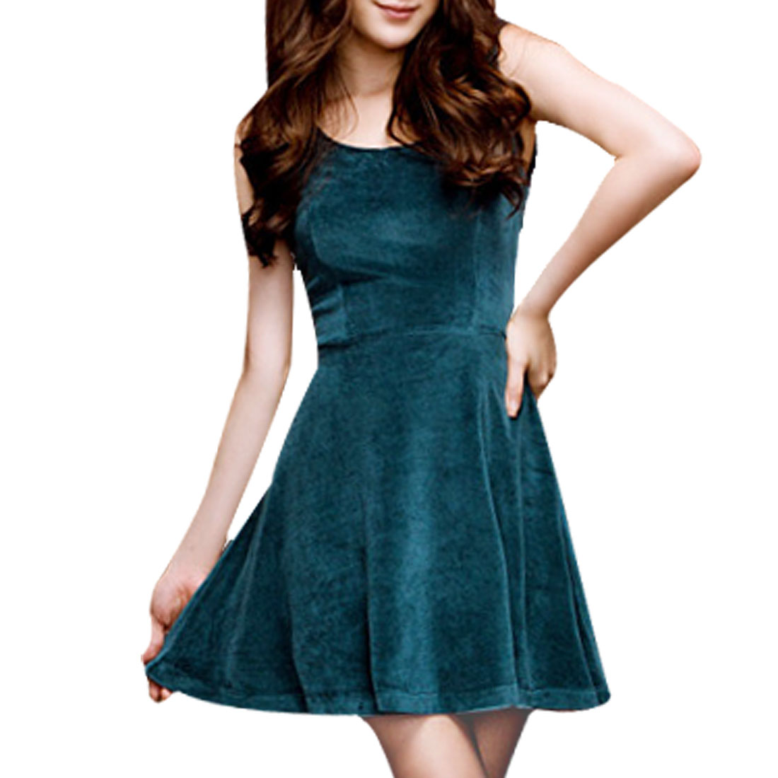 Charming Round Neck Sheath Waist Mini Tank Dress Teal Green XS for Ladies