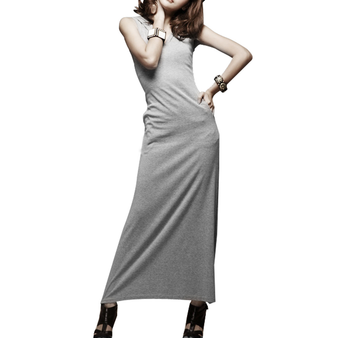 Woman Pure Gray Backless Summer Leisure Long Dress XS