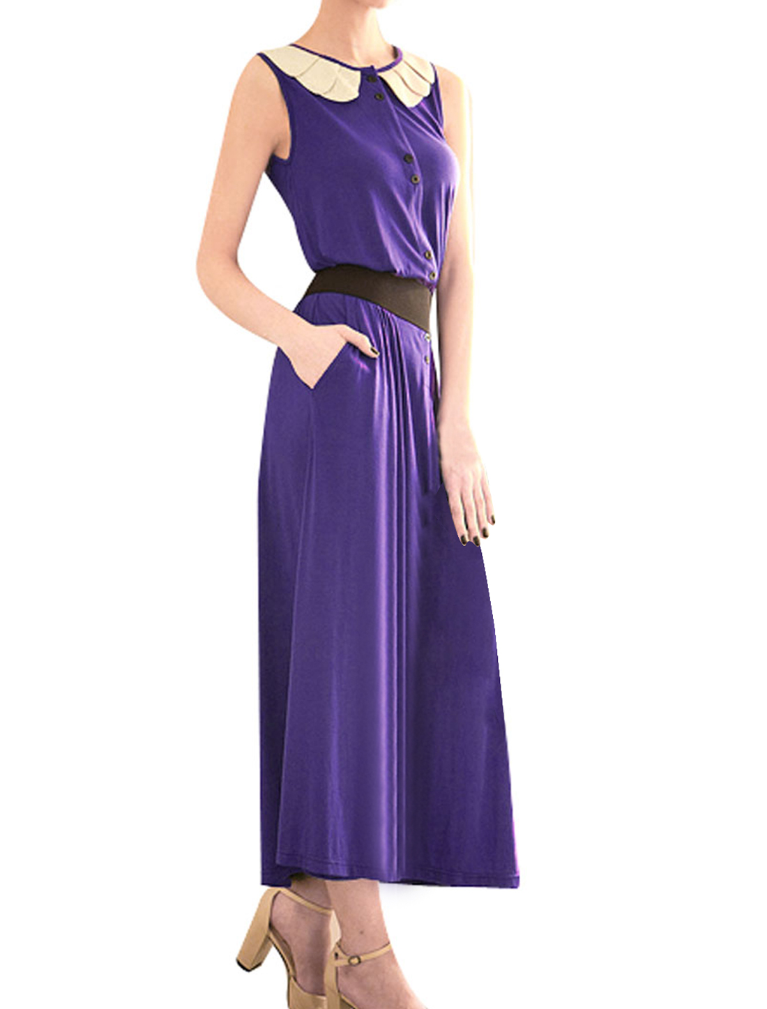 XS Woman Purple Round Neck Sleeveless Petals Collar Maxi Dress