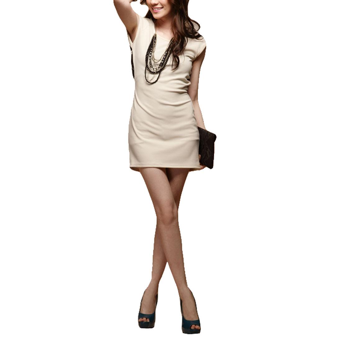 Woman Laced Split Back Cap Sleeveless Elegant Mini Dress Ivory XS