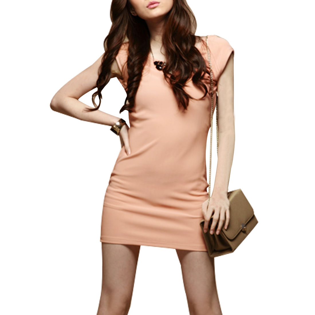 Charming Sheath Waist Hip Hugging Mini Dress Pink XS for Ladies