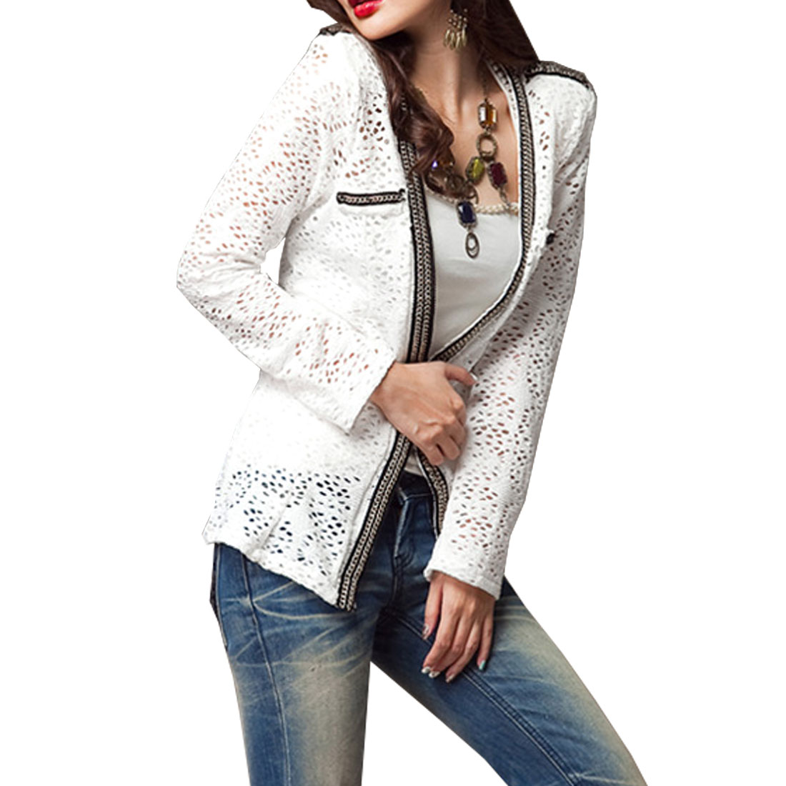 XS Woman White V Neck Long Sleeve Hollow Out Slim Coat