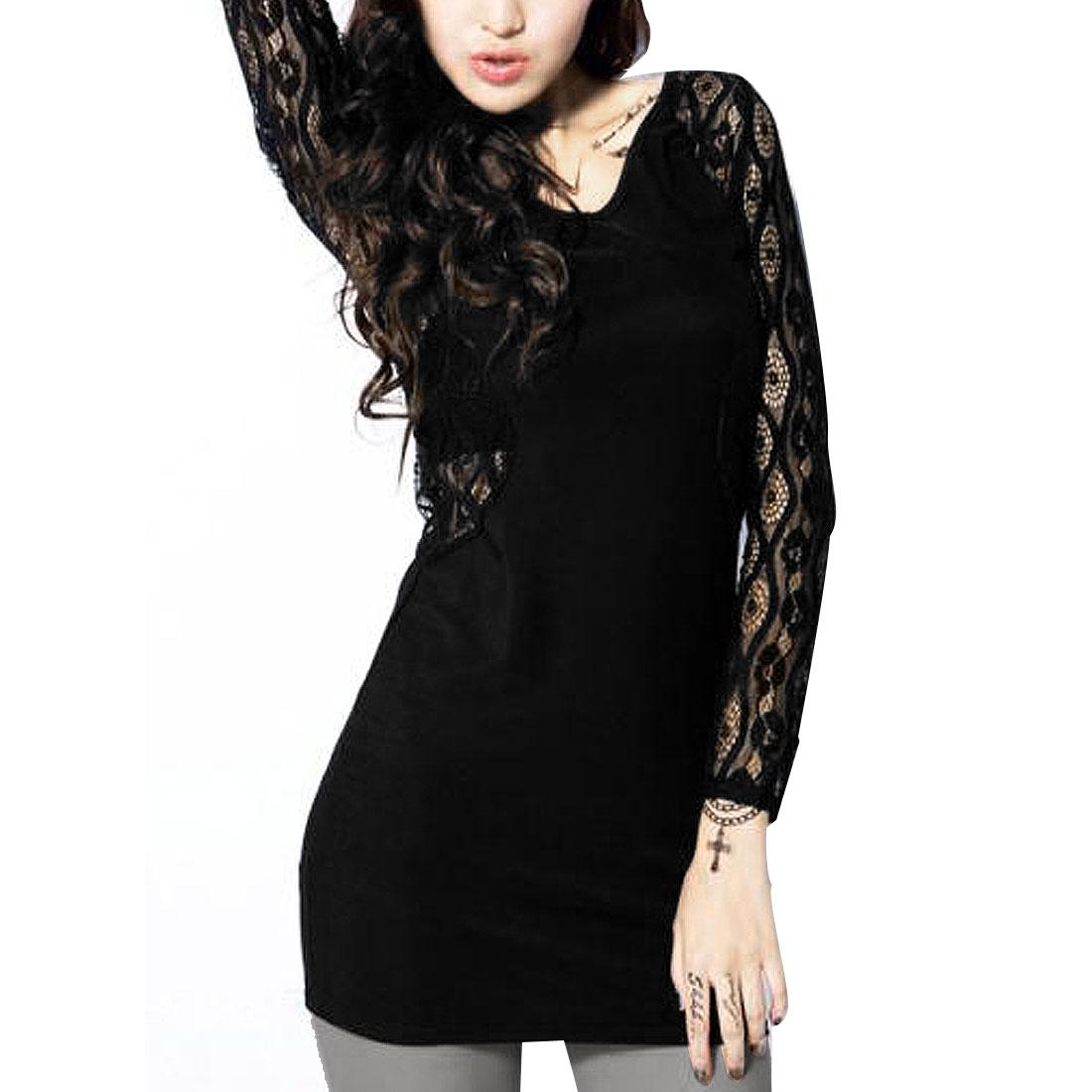 XS Women Black U Neck Long lace Sleeve Blouses