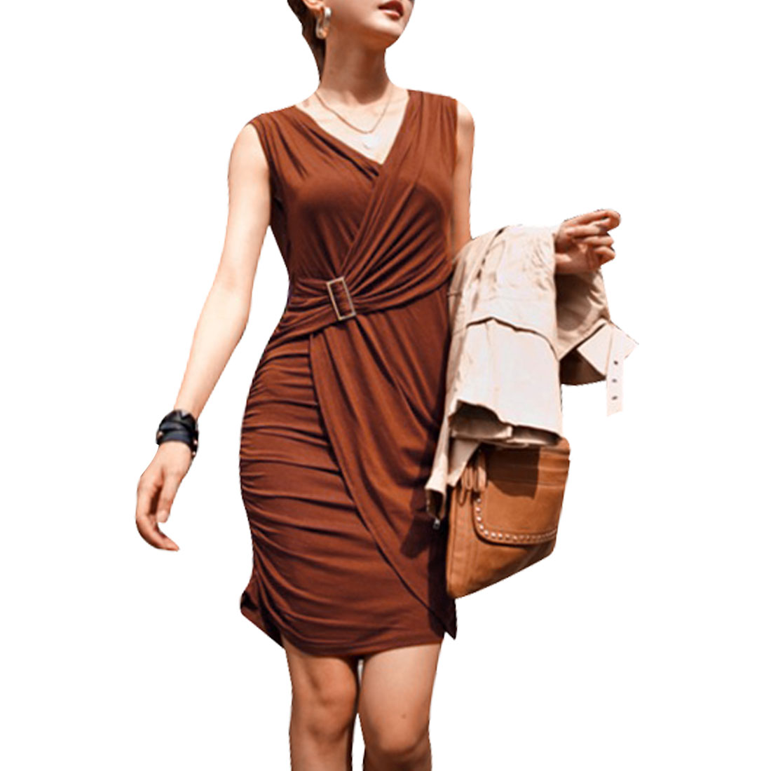 XS Women Sleeveless Pullover Low Round Neck Hip Hugging Mini Dress Coffee Color