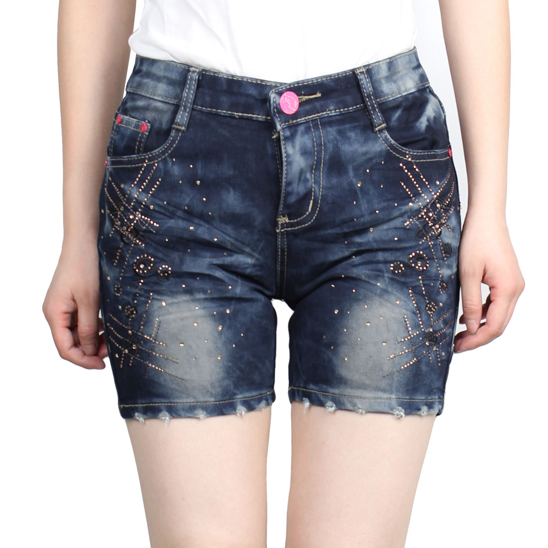 Summer Belt Loop Slanting Pockets Short Jeans Dark Blue S for Ladies