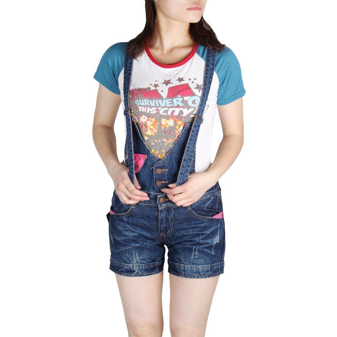 Women Summer Slanting Pockets Adjustable Strap Short Suspender Jeans Blue S