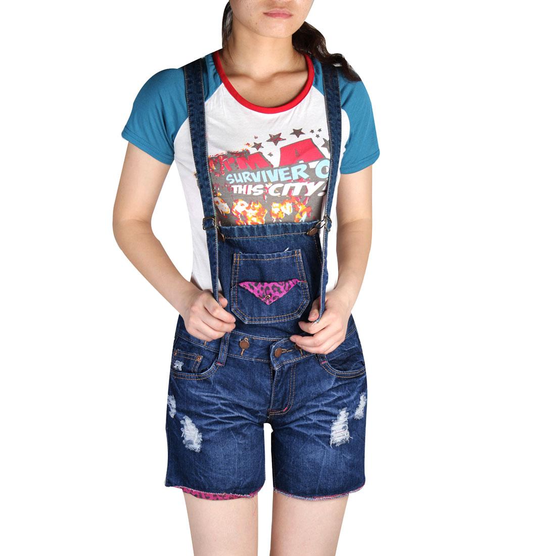 Women Charming Slanting Pockets Button Closure Short Suspender Jeans Blue M