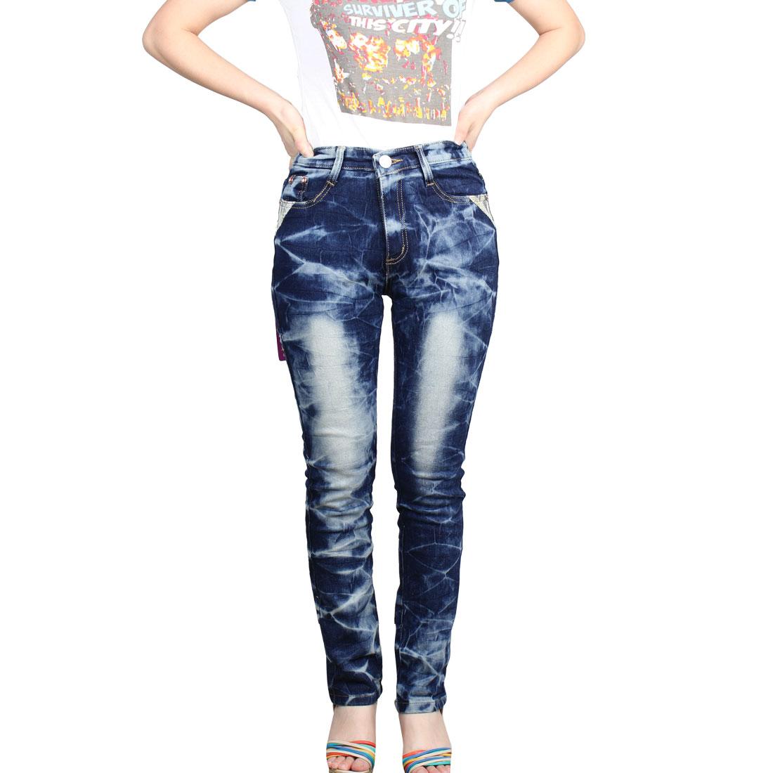 Women Belt Loop Botton Closure Slant Side Pocket Blue Full Length Jeans M
