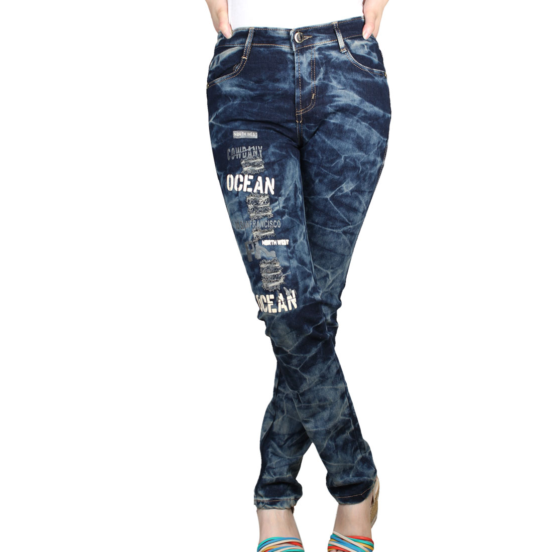 Women Belt Loop Letters Print Distressed Faded Jeans Pants Blue Gray S