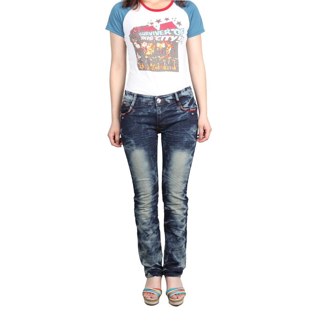 Zipper Decoration Two Hip Pockets Blue Denim Pant Slim Jeans for Women M