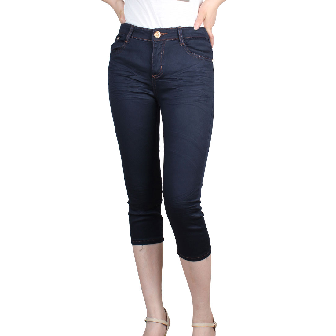 Woman Rhinestone Studs Nailhead Detail Slant Pockets Capris Jeans Navy Blue XS