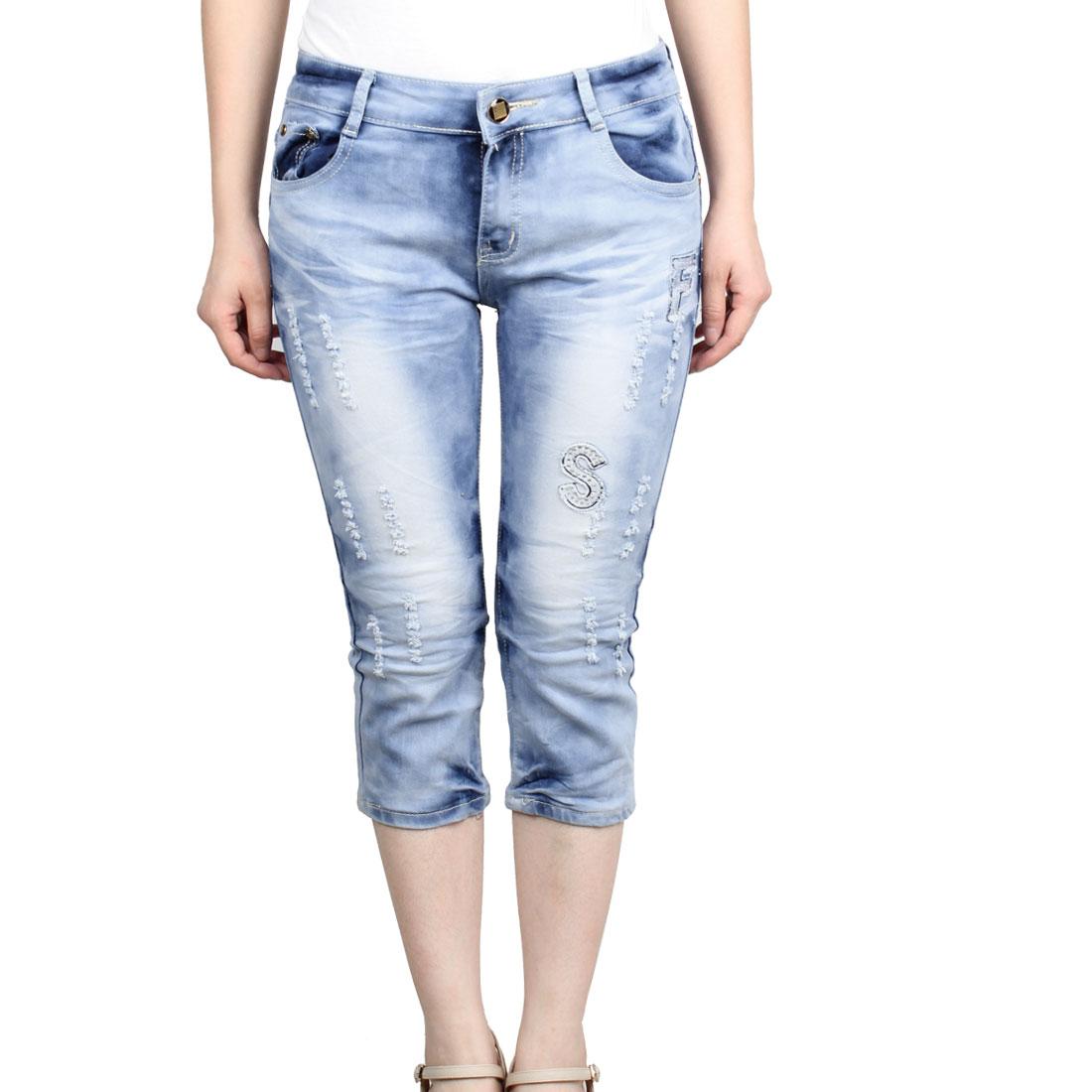 Women Slanting Pockets Button Closure Fashional Cropped Jeans Light Blue S