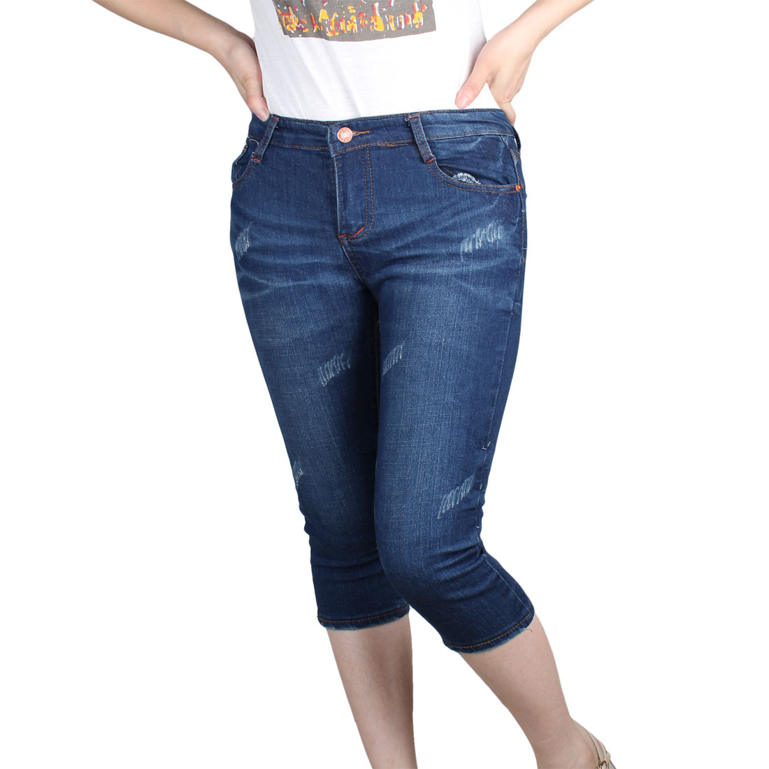 Woman Low Waist Tightfitting Butoon Closure Cropped Jeans Pants Blue XS