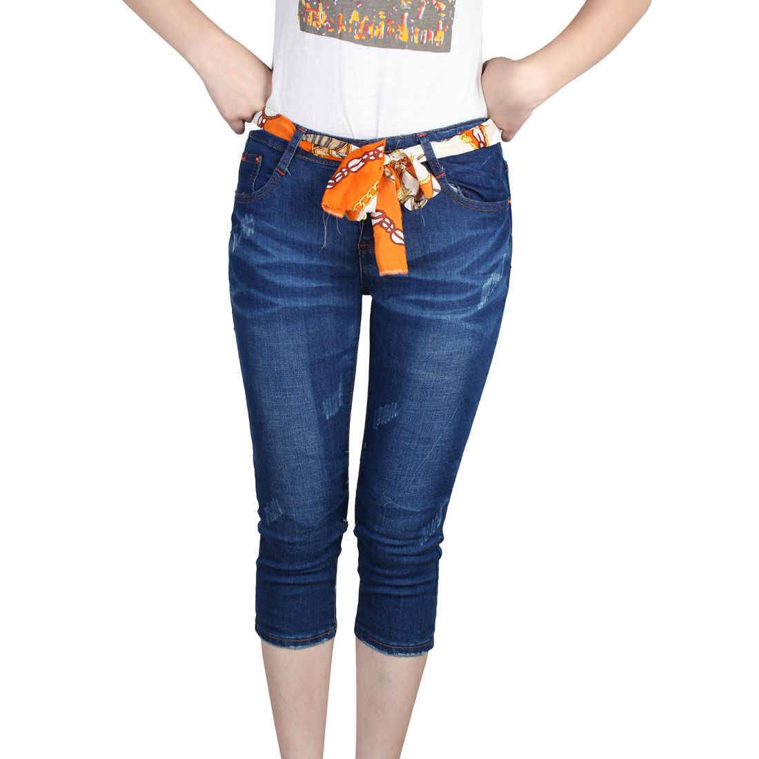 Woman Low Waist Butoon Closure Denim Cropped Jeans Pants Blue XS
