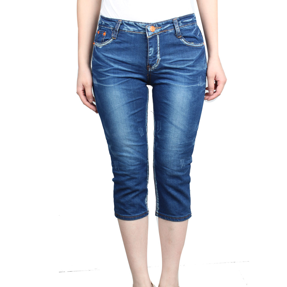 Woman Fashional Mini Pocket Inside Zip Fly Denim Capris Pants Jeans Blue M