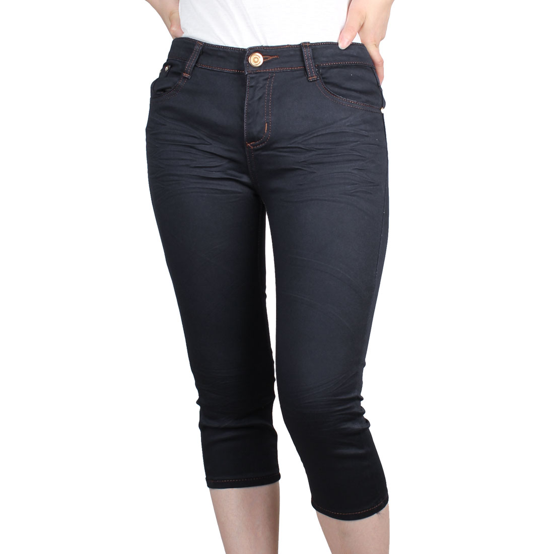 Navy Blue S Belt Loop Front Slanting Pockets Zip Fly Capris Jeans for Women