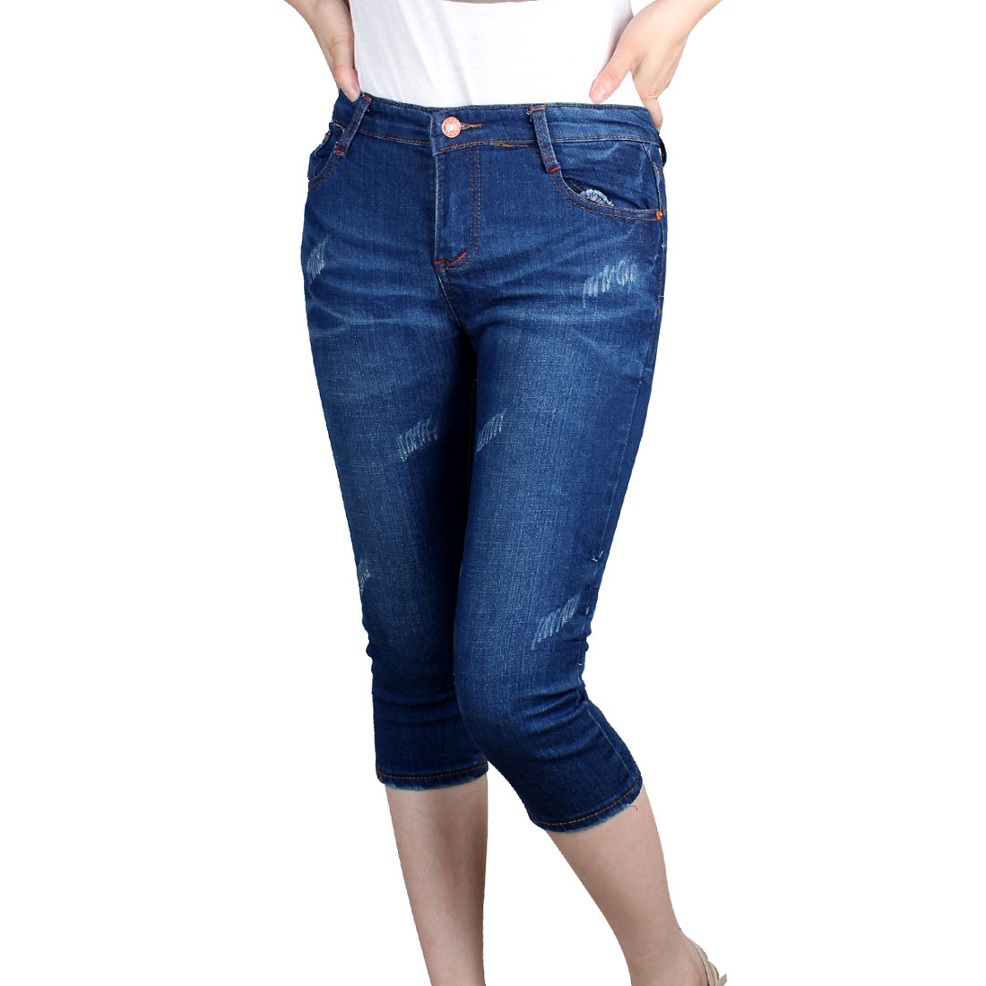 Low Waist Belt Loop Solid Blue Capris Jeans S for Ladies
