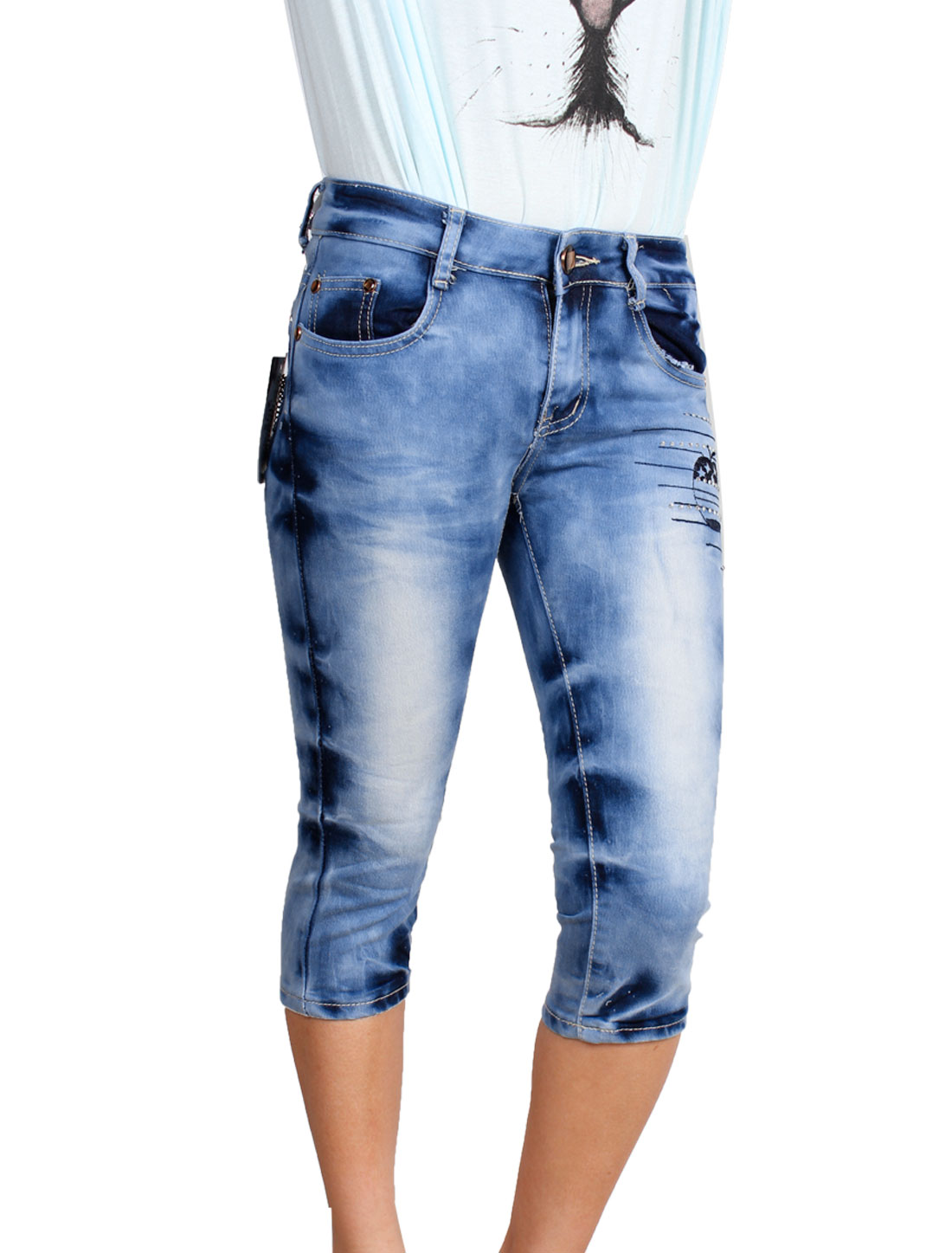 Women Chain Decor Back Pocket Low Waist Button Closure Cropped Jeans Blue S