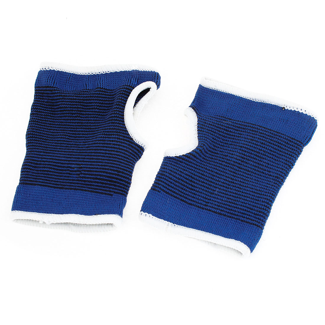 2 Pcs Thumbhole Design Black Blue Stripe Pattern Palm Wrist Support Protector