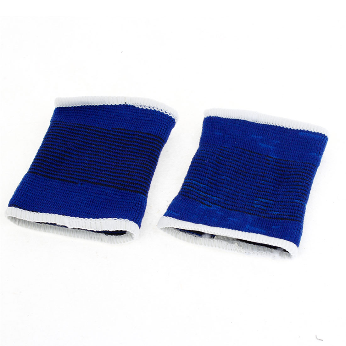 2 Pcs Stripe Pattern Stretchy Sports Protective Wrist Band Support Blue Black