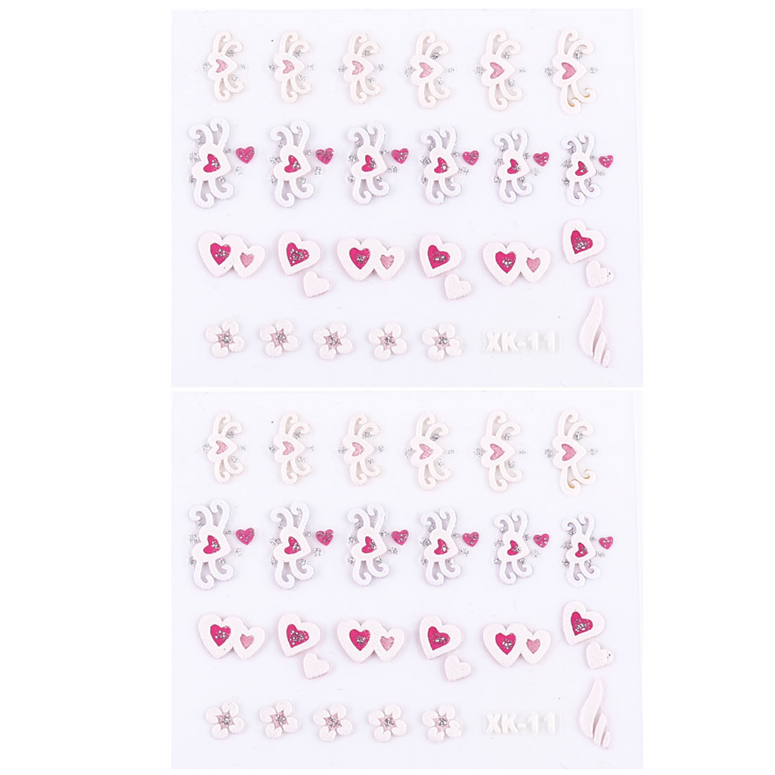 White Pink 3D Flower Heart Design Nail Accessory Fingernail Sticker Sheet 2 Pcs