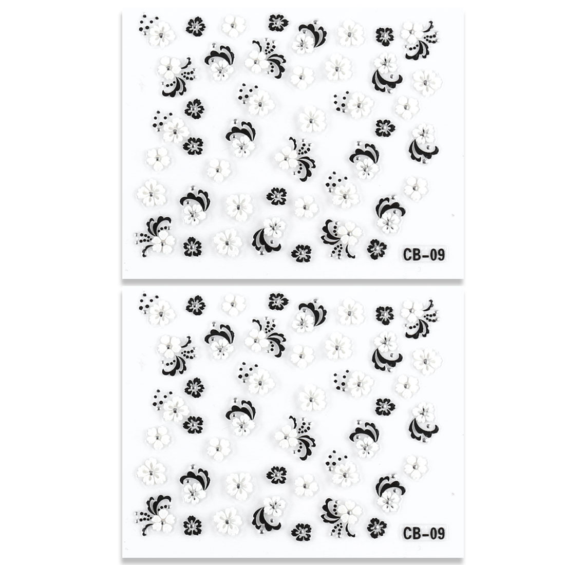 White Black 3D Flower Design Nail Art Fingernail Sticker Sheet 2 Pcs
