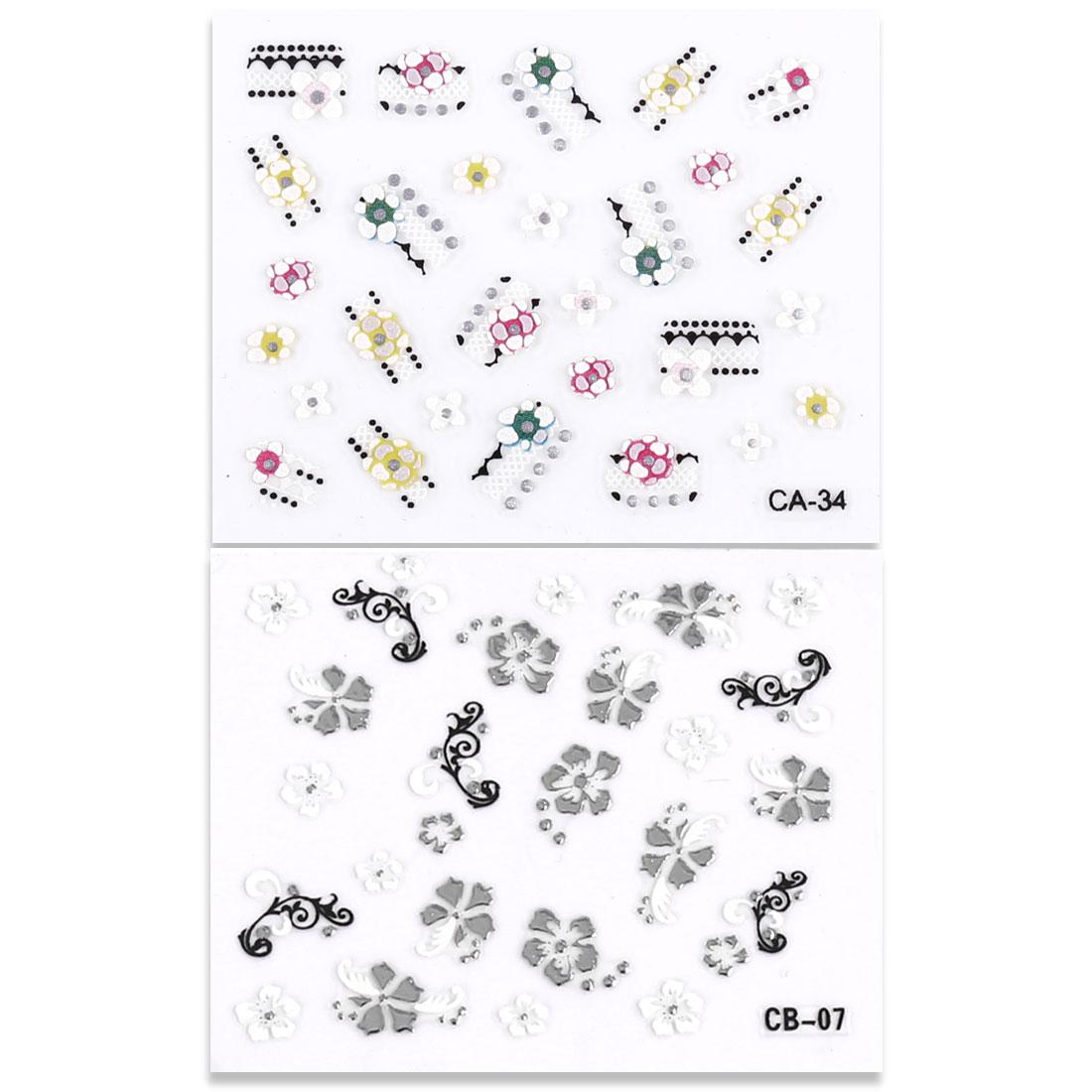 Colorful 3D Flower Design Nail Art Fingernail Sticker Sheet 2 Pcs