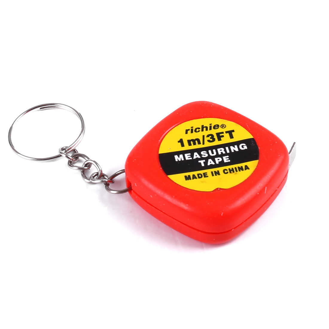 Red Measuring Tool 1 Meter 3 Feet Mini Tape Measure w Key Ring