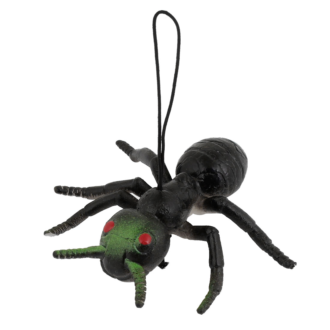 Black Green Silicone Simulation Ant Shaped Pendant Phone Strap