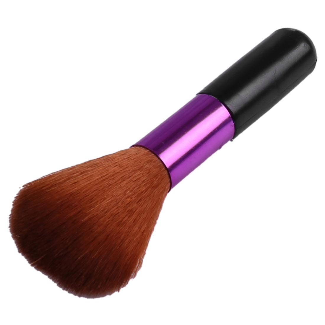 Women Black Purple Plastic Handle Powders Blush Brush Makeup Tool